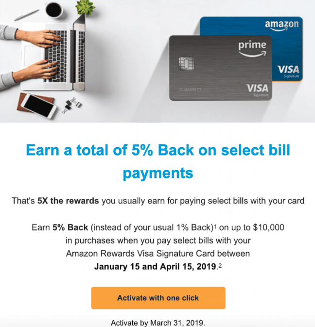 Chase Amazon Rewards Visa, Earn 5% Cashback For Paying Internet/Cable/Phone Service
